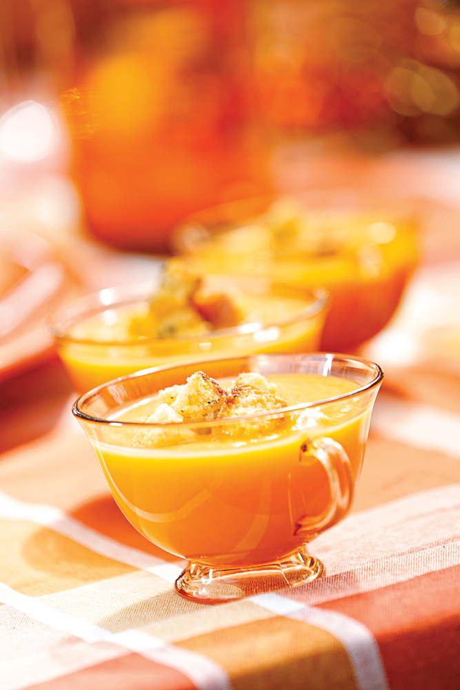 Butternut Squash Soup with Herbed Cornbread Croutons