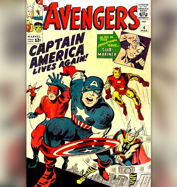 Cover art of The Avengers vol 1 no 4, Captain America Lives Again!, art by Jack Kirby and George Roussos